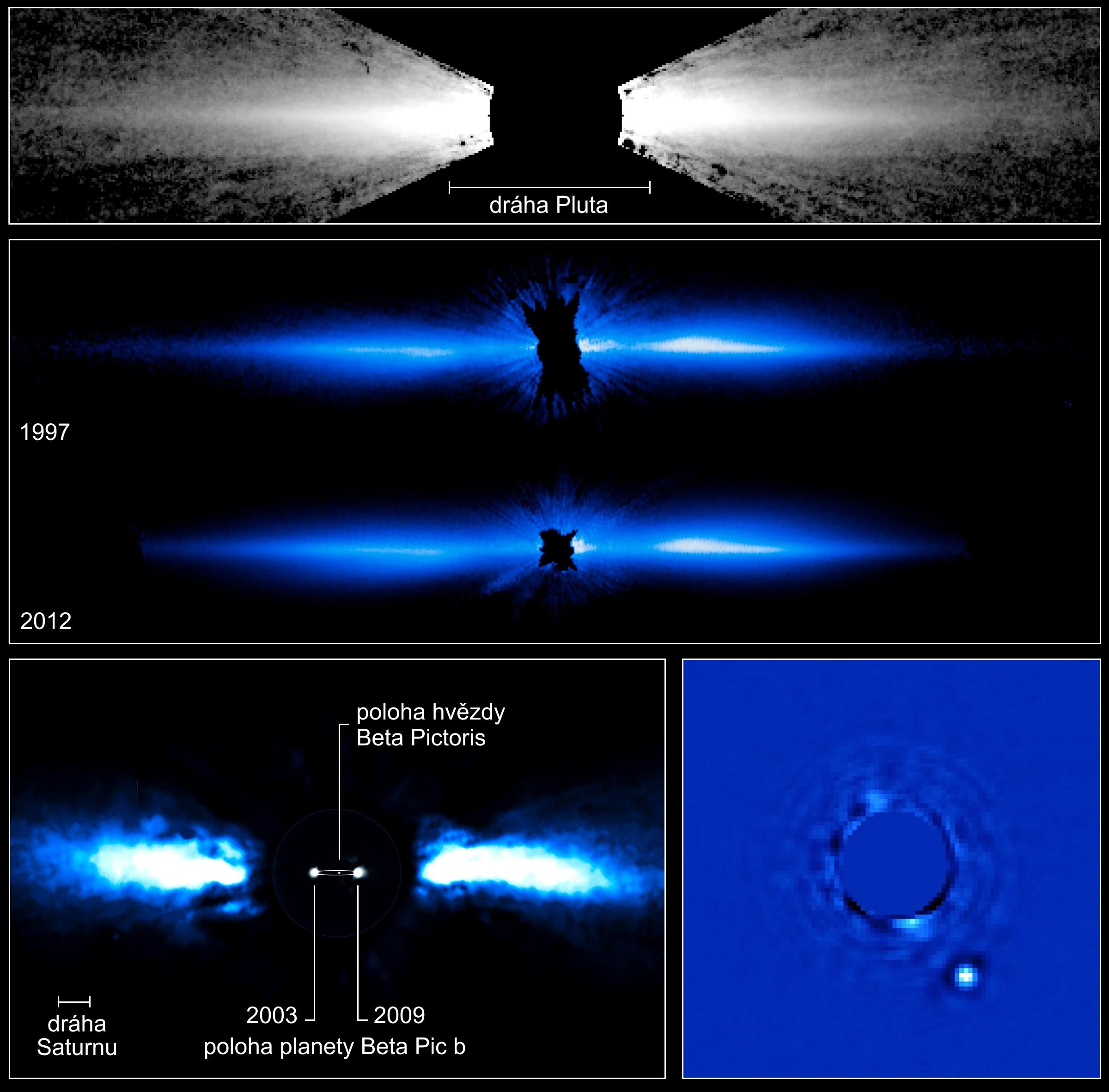 dce784cc2 Snímky prachového protoplanetárního disku u hvězdy β Pictoris. Horní dva  snímky jsou pořízeny Hubblovým dalekohledemHST (Hubble Space Telescope) –  Hubblův ...