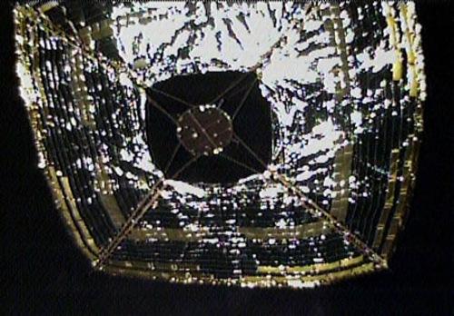 Pohled z kamery na IKAROS