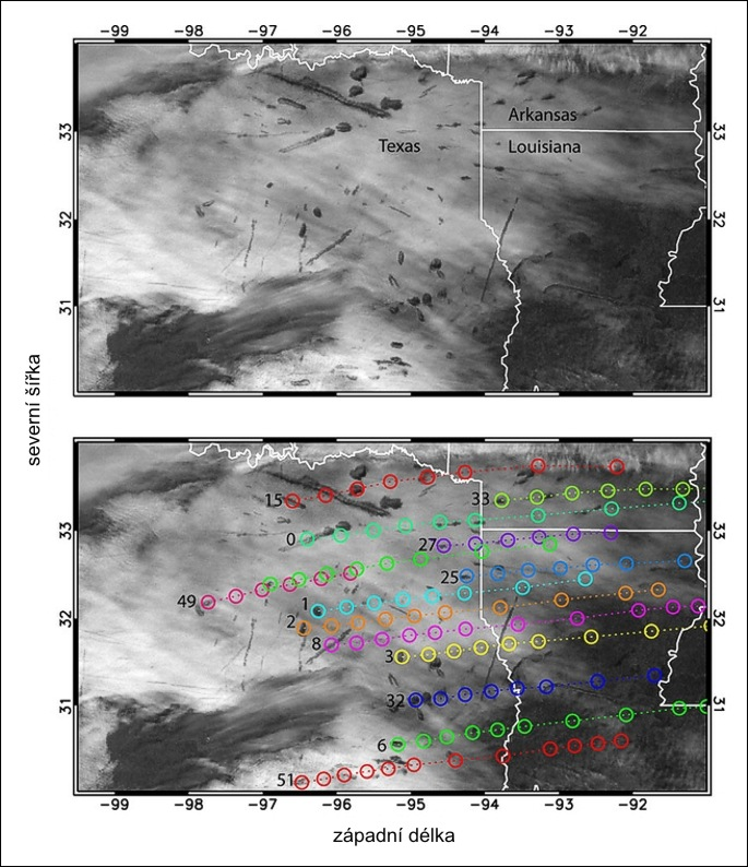 Jeden ze zkoumaných satelitních snímků a zakreslené lety