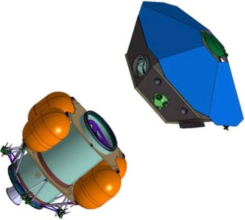 Šestiúhelníková observatoř NGO (vpravo nahoře) po oddělení od pohonného stupně