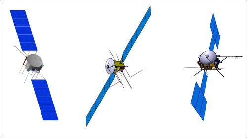 Tři návrhy podoby sondy JUICE