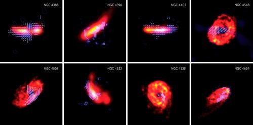 Galaxie z kupy v Panně zobrazené prostřednictvím HI emise