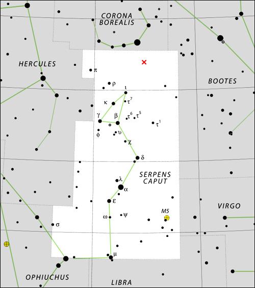 Mapa souhvězdí Hada